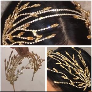 Barock Kristall Strass Perlen Quaste Blatt Doppelhaarband Frauen Braut Hochzeit Tiara Haarschmuck Crown Hairwear Schmuck MX200720