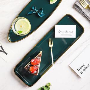 Louça prato verde cerâmica Jantar Set ouro embutimento Porcelain Dessert Plate Steak Snack Bolo Prato Salada Sopa Rice Bowl
