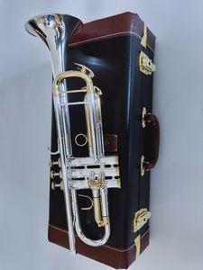 New Bach Trumpet Mejor calidad LT180S-72 Trompeta B Plano plateado Plateado Trompeta profesional Instrumentos musicales Regalo
