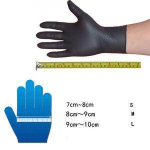 New 10Pcs Black Comfortable Rubber Disposable Mechanic Nitrile Gloves L M S O10 OC4