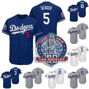 Los Angeles 5 Corey Seager Jersey 60th Anniversary Patch 3 Chris Taylor 9 Yasmani Grandal 10 Justin Turner 15 Austin Barnes Baseball Jerseys