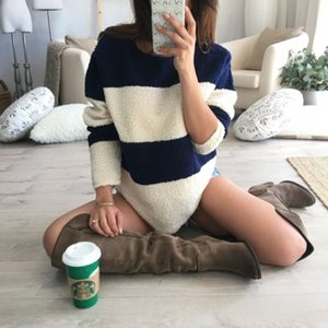 Loose Women Fashion Oversized Fleece Pullover peluche Jumper Patchwork a manica lunga Top Maglione Pullover