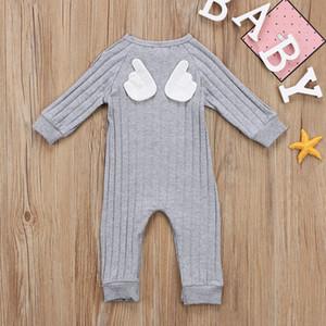 Nette Frühlings-Herbst-neugeborene Kind-Baby-Engels-Flügel-Kleidung Overall-Spielanzug Grau Langarm-Strick Junge Strampler Outfits