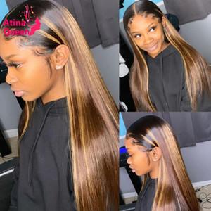 13X6 Remy Brown avant de dentelle perruque avant plumé Highlight Ombre Honey Blonde 360 Lace Frontal perruque noire des femmes de couleur perruques de cheveux humains