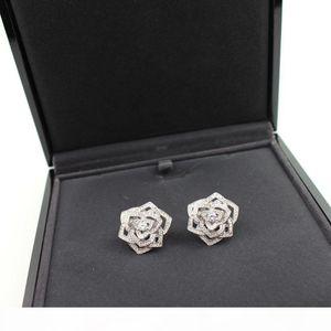 High quality designer brand hot sale flower series camellia earrings micro-encrusted diamonds gold-plated rose earrings gift