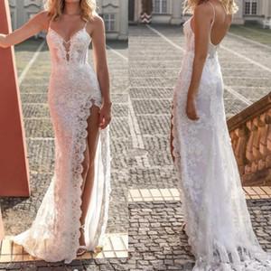 2020 Sexy V шеи Кружева аппликация Спагетти ремень высокого расколоть Line Свадебные платья с Open Back стреловидности Gowns Поезд Sheer шеи Bridal