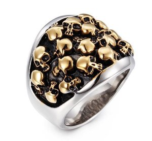 Party Rock Personalidade Viking Mens Stainless Anéis de aço Punk Skull Ring Acessórios de Moda Dedo de jóias por atacado