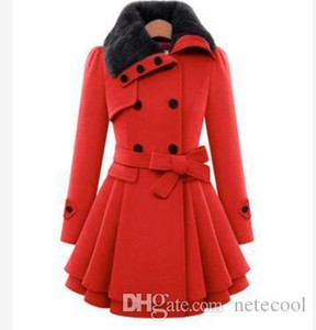 New Woolen bowknot Jacket Female Long Section Korean 2018 Autumn Winter Slim Little Woolen Coat Warm Coat 2018 Fashion Plus Size 4XL Hot