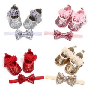Free Shipping Bowknot Sequins Baby Girls Shoes Newborn Princess Shoes First Walkers + Hairband Baby Girl Birthday Party Shoes