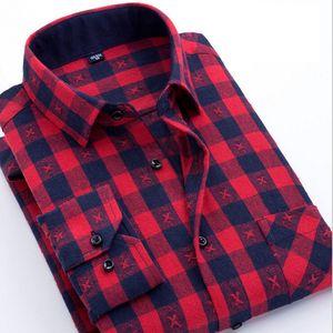 Erkekler Rasgele Ekose Flanel Gömlek Pamuk Uzun Kollu teslimi Aşağı Yaka Gömlek En Giyim S-3XL