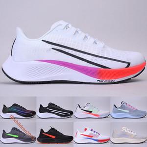 Pegasus 37 Flyease Beyaz Çok Renkli Erkekler Kadınlar Yüksek Kalite Gerçek Siyah Obsidian Mist Açık Sneakers Boyut 5,5-11 Be Koşu Ayakkabıları