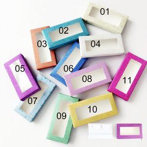 Wholesale Rectangle Bulk False Eyelashes Packaging Paper Boxes Rectangle Various Color Lash Glitter Package Box Inside Package