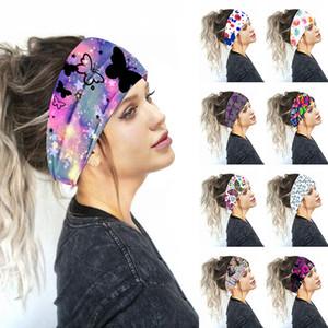 Цветочные печати тюрбан узел Headwrap Спорт Упругие Йога Hairband Мода хлопок Ткань Широкий оголовье для женщин Accessoires волос