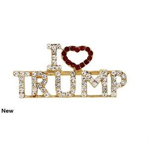 "Crystal Trump Brooch Rhinestone Glitter Brooches Red Heart Letter ""I Love Trump"" Pin Women Girls Coat Dress Jewelry Party Favor GG"
