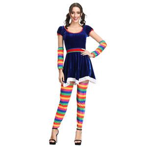 Пурим карнавал Хэллоуин клоун костюмы Смешные Женщины Circus Clown Косплей Костюм для взрослых Девушка партии платье