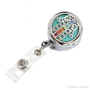 New 7 Chakras Lucky Hand Perfume Essential Oil Locket Metal Retractable Badge Reel Key 30MM ID Card Clip Ring Lanyard Name Tag Card Holder
