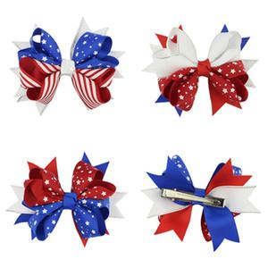 3 estilos bandera americana de impresión Barrettes arco pinzas para el cabello Swallowtail horquillas arcos de pelo Clip niños accesorios para el cabello DHL JY268