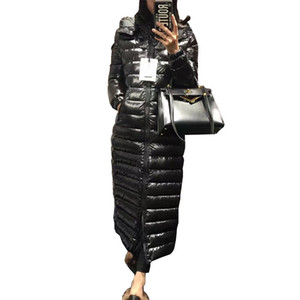 2018 tamanho New Além disso Womens para baixo Outono-Inverno Jacket Alongar com capuz Grosso Warm White Duck Down Jacket Brasão Parkas Feminino PJ337