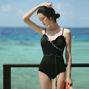 Hot spring swimsuit female sexy Super fairy fan conjoined black skinny belly covered with lotus leaf beach holiday bikini