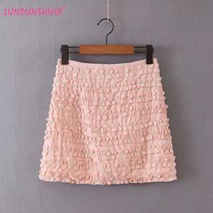 LUNDUNSHIJIA 2020 nueva llegada volante Faldas para el rosa verano de las mujeres de cintura alta Mini faldas de volantes Saia