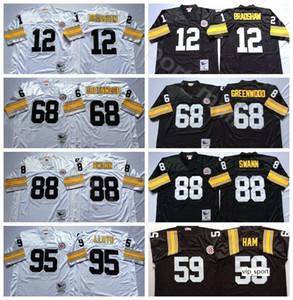 NCAA Football 12 Terry Bradshaw 68 L.C Greenwood 59 Jack Ham 88 Lynn Swann Formalar 95 Greg Lloyd Siyah Beyaz Adam Vintage Dikişli