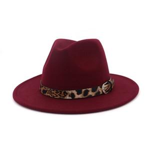 Laine vierge Fedora Hat Hawkins Felt Cap Brim Femmes Hommes Grand Jazz Eglise Godfather Panama Cap Avec Leopard Ceinture en cuir