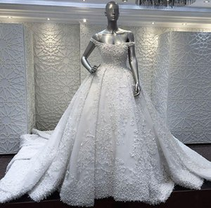 2019 New Vintage Overskirt Wedding Dresses Pearls Off The Shoulder Neck A-Line Custom Made Appliqued Bridal Gowns With Sweep Train