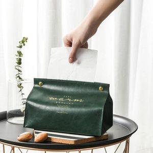 Box Tissue Couro PU Holder, retangular Tissue Box Cover, Facial T Organizador para quarto, closet, sala de estar Home Decor