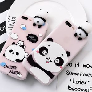 3D Panda Phone Case For iphone XS MAX XR X 7 8 plus etc Cover Cartoon Cute Soft Silicone-TY3000