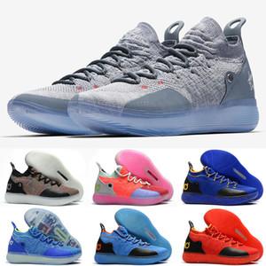Barato nuevo Mujeres kd 11 zapatos de baloncesto Oreo Azul Amarillo Negro Chicos Chicas jóvenes niños Kevin Durant KD11 XI vuelos aéreos zapatillas de deporte botas para la venta