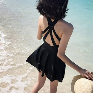 Y5v0o Fairy fan 2019 Super fairy black swim Female student Conservative slimming swimsuit suit Body clothes body clothes one-piece ins Wind