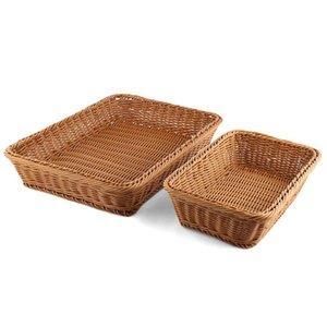 ABSS-Bread Basket 2Pcs Rectangle imitation rotin tissé Panier de rangement pour fruits légumes alimentaires à grande Poly osier pain panier