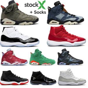 2020 6 denim lavado PSG Paris Shoes Grey Suede Travis Scotts Men Basquete Masculino 11 11s Concord 45 Bred Tinker Hatfield Sneakers Com Box
