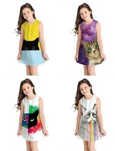 الصيف طفلة مخطط اللباس Vestidos أطفال 3D الأسود حزب القط هوليداي بيتش فساتين ملابس بدون أكمام فستان الشمس