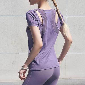 Wmuncc Sesy malla remiendo camiseta del deporte de fitness Mujeres camiseta Yoga Running respirable ahueca hacia fuera los jerseys de deporte T200609