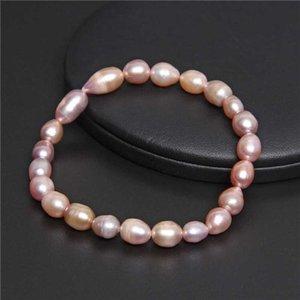 7-8m m genuinos rosa natural perlas del oro brazalete de perlas de agua dulce barroca rosa pulsera de cuentas minimalista mujeres regalos de la cadena de joyería
