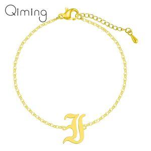 Old English J Initial Gold Bracelets Hauptstadt Alphabet Font-Armband-Fußkettchen Silber Brief 26 A-Z Bangles Geburtstags-Geschenk