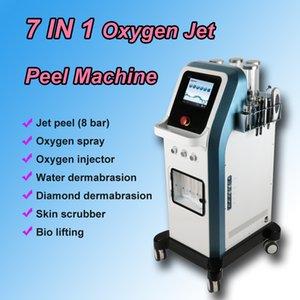 Nuova versione 7 in 1 tecnologia 8 bar jet peel ossigeno idra dermoabrasione facciale pulizia della pelle macchina bio lifting
