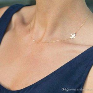Metal simple pájaros de la paz de la paloma corto collar de las mujeres collar de cadena Chainbone Señora de la joyería el envío libre al por mayor