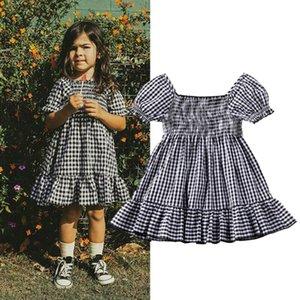 2020 новорожденных малышей Infant ребёнки платья лета вскользь Princess Tutu партии Plaid платье