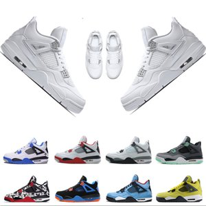 With Box 2020 New High Quality 4s Mens Basketball Shoes 4s White Cement Black Red 4 Superman Fashion Sports Shoes Designer Sneaker