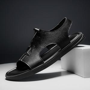Сандалии кожаные мужчины повседневная обувь пляж открытый капля сандалии гомбен свет 2021 мужская гладиатор летом