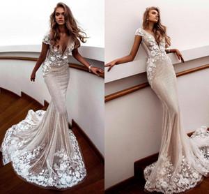 Profondo sexy sirena abiti da sposa con scollo a V in 3D Appliques floreali perline protezione della spiaggia del manicotto Boho Abiti da sposa BC2692