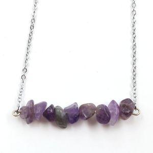 10 Pcs Silver Plated Irregular Shape Rainbow Stone Pendant Link Chain Necklace Lapis Lazuli Fashion Jewelry