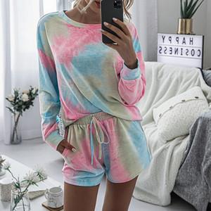 SFIT Renkli pijamalar Kadınlar Yeni Ev Giyim İki adet Bayan Pijama Takımı Moda Gecelik Uyku Bottoms geceliğini Tie-boya yazdır