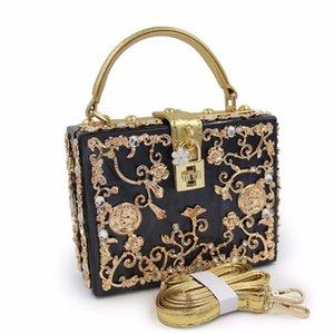 Designer Box forme fourre-tout femmes sac à main acrylique soulagement sac du soir d'embrayage noir sac de soirée sac de soirée sac à bandoulière
