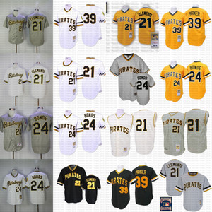 Günstige Pittsburgh Throwback 21 Roberto Clemente 39 Dave Parker 24 Barry Bonds Mitchell und Ness coopers Trikot