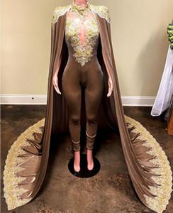 Krikor Jabotian Combinaisons Robes De Soirée Avec Cape Détachable Robe De Bal Robes Pantalon pour Femmes Custom Made Lace Velvet