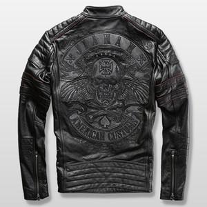 harley giacca motociclista mens genuino giacca di pelle di vacchetta ricamo cranio giacca di pelle dell'uomo sottile