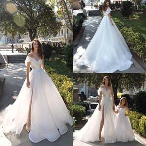 Gorgeous Beach Wedding Dresses A Line Ice Tulle Ruffles One Shoulder Bridal Dress Custom Made Sweep Train Vestidos De Novia